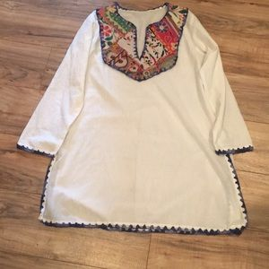 Tops - Boho tunic with appliqué &  embroidery